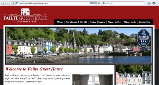 Failte Guest House Website Design